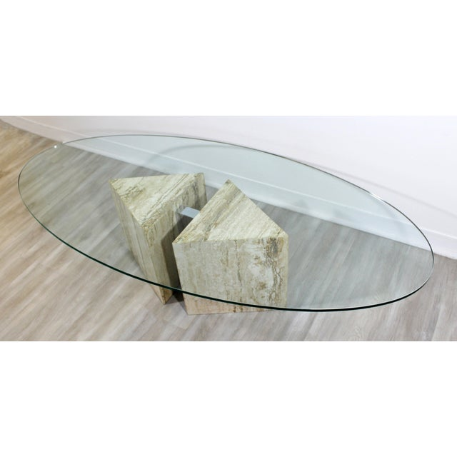 Mid-Century Modern Italian Marble Chrome Glass Surfboard Coffee Table, 1970s For Sale In Detroit - Image 6 of 9