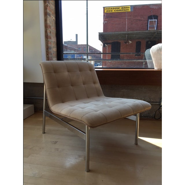 CP1 Lounge Chair designed by Charles Pollock in 2012. Polished stainless steel frame with Bernhardt - Beige Nubuck Leather...