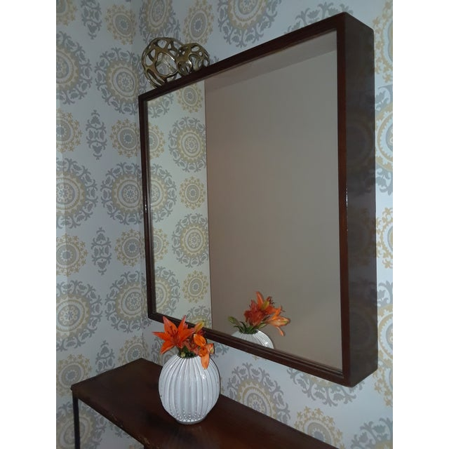 Brown Mid-Century Modern Wood Framed Mirror For Sale - Image 8 of 10