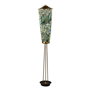 Unusual Gathered Fabric and Brass Italian Floor Lamp For Sale