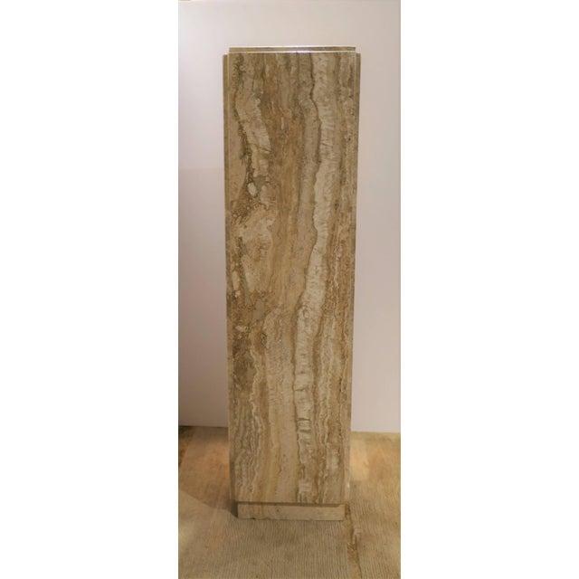 Italian Modern Travertine Marble Pedestal Column For Sale - Image 4 of 7