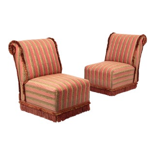 Rose and Gold Damask Slipper Chairs - a Pair For Sale