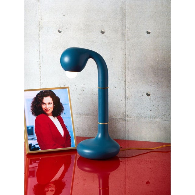 2010s Entler Blue Ceramic Table Lamp For Sale - Image 5 of 5