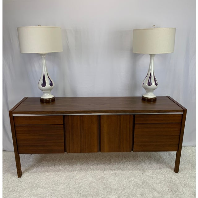 Kimball 1950s Kimball Mid-Century Modern Walnut and Chrome Credenza For Sale - Image 4 of 9