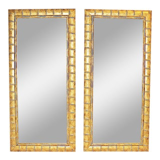 Modern Faux-Bamboo Mirrors - a Pair For Sale