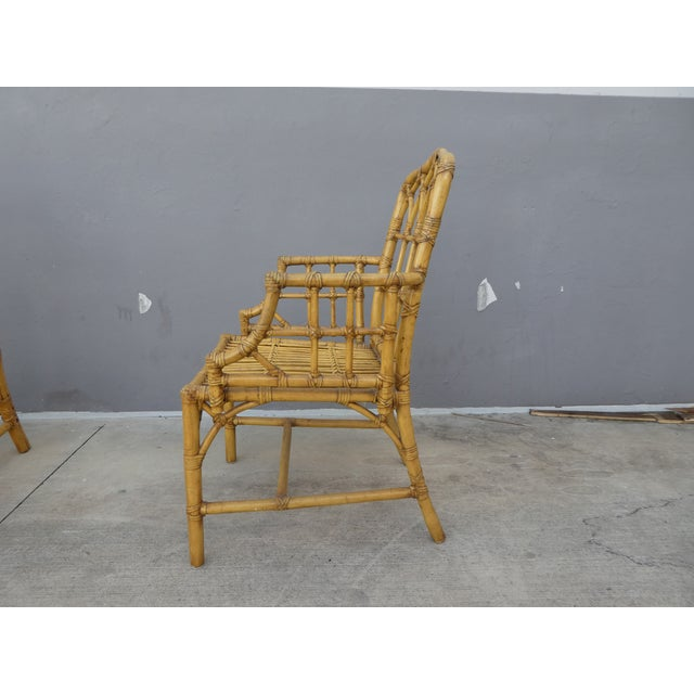 Yellow Classic Chinese Chippendale Rattan Dining Room Table Base with 6 Pagoda Top Dining Chairs For Sale - Image 8 of 13