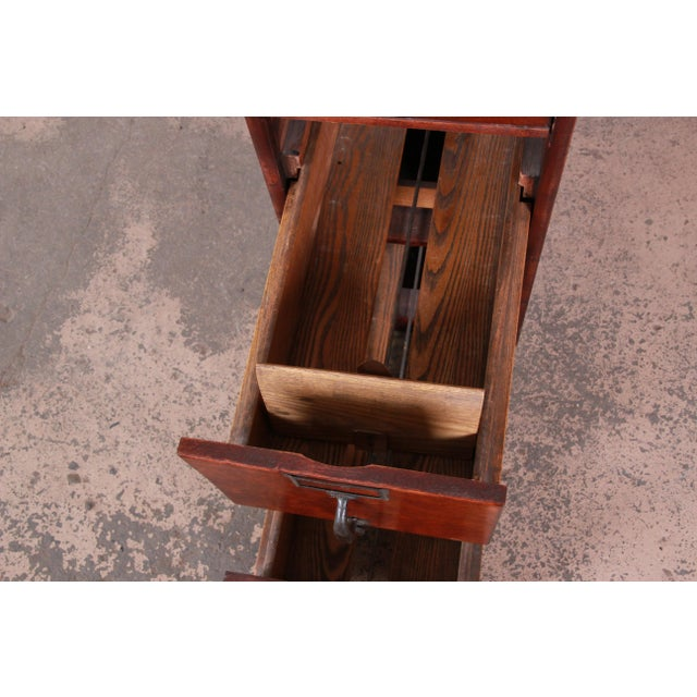 Metal Antique 5-Drawer Wood File Cabinet For Sale - Image 7 of 11