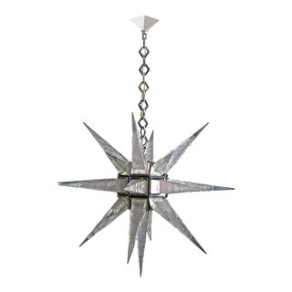 Contemporary Deco Charles Weinsten Style Moravian Star Chandelier With LEDs For Sale