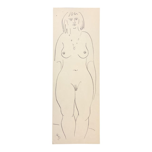 1950s Mid-Century Modern Female Figure Study Drawing by James Bone For Sale
