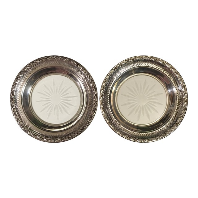 Set of 2 Sterling Silver Cut Glass Wine Coasters - Image 1 of 9