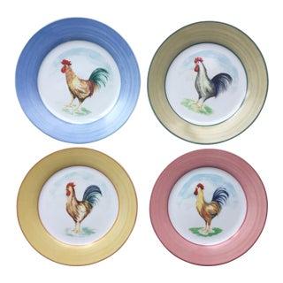 Godinger Hand-Painted Rooster Plates-Set 4 For Sale