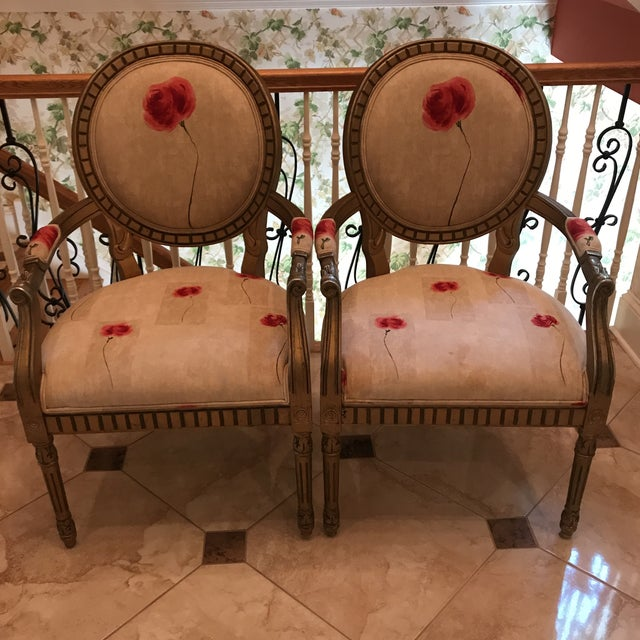 Rose Upholstered Arm Chairs - A Pair For Sale - Image 11 of 11