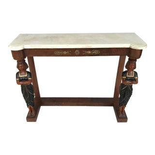 1880s Regency Greek Revival Marble Top Console Table For Sale