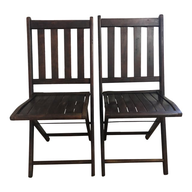 Vintage Wooden Folding Chairs - a Pair For Sale