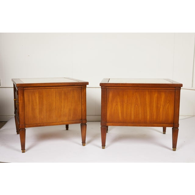 Mid-Century Modern Midcentury Italian Walnut End Tables Inset With Travertine Tops For Sale - Image 3 of 12