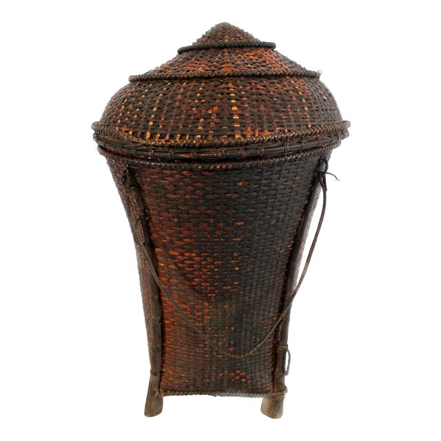 Woven Storage Basket with Lid For Sale
