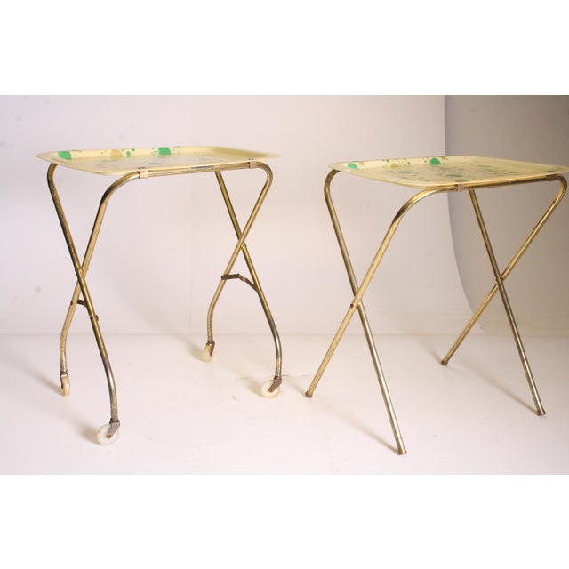 Mid Century Modern Yellow & Green TV Tray Tables - Set of 4 - Image 8 of 11