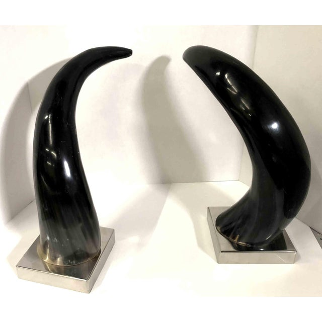 Mid-Century Modern Contemporary Mounted Horns on Silver Chrome Bases - a Pair For Sale - Image 3 of 6