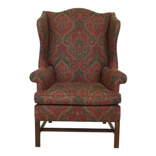 Southwood 18th C. Style Mahogany Wing Chair For Sale