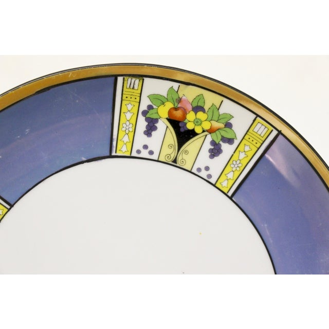 Art Deco Noritake Blue Luster Handled Cake Plate For Sale - Image 3 of 5