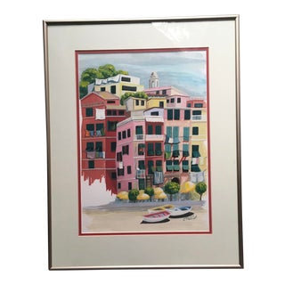 Italian Village Terraced Homes Landscape Oil Painting Signed For Sale