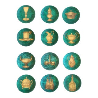 Piero Fornasetti Stoviglie Malachite Plates - Set of 12 For Sale