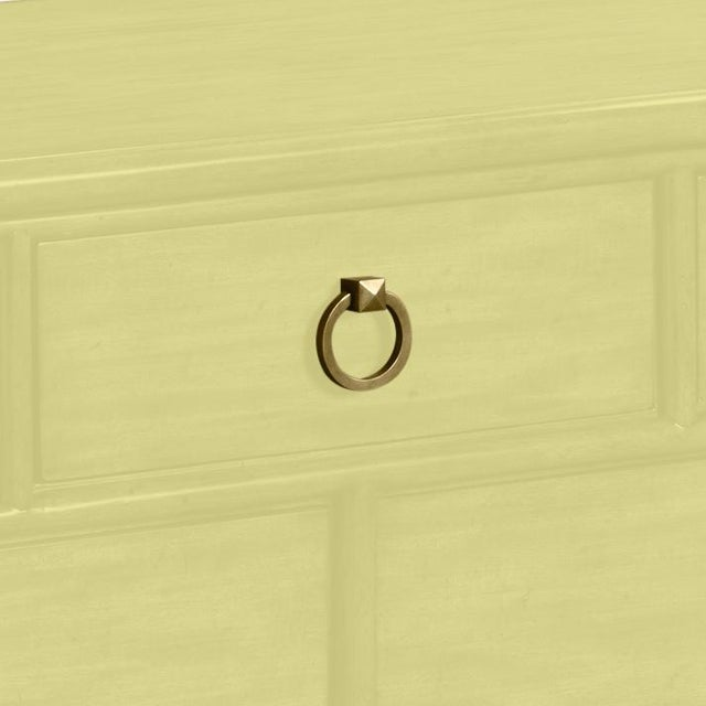 This is a made to order item with a 6-8 week leadtime. The color is Benjamin Moore Pale Avocado.A rectangular molded top...
