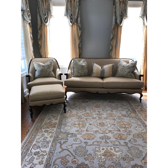 Red Century Furniture Chair & Ottoman With Floral Pillow - a Pair For Sale - Image 8 of 10