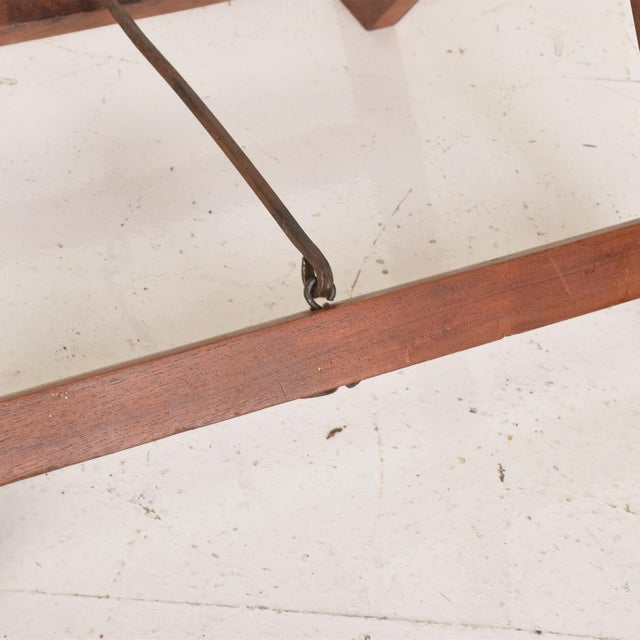 Antique Decorative Leather & Mahogany Folding Wood Stools - a Pair For Sale - Image 4 of 7