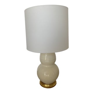 Vintage Mid 20th Century White Lamp With Gold Base For Sale