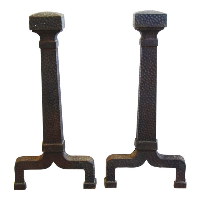 Early 1900s Arts & Craft Mission Style Iron Fireplace Andirons For Sale