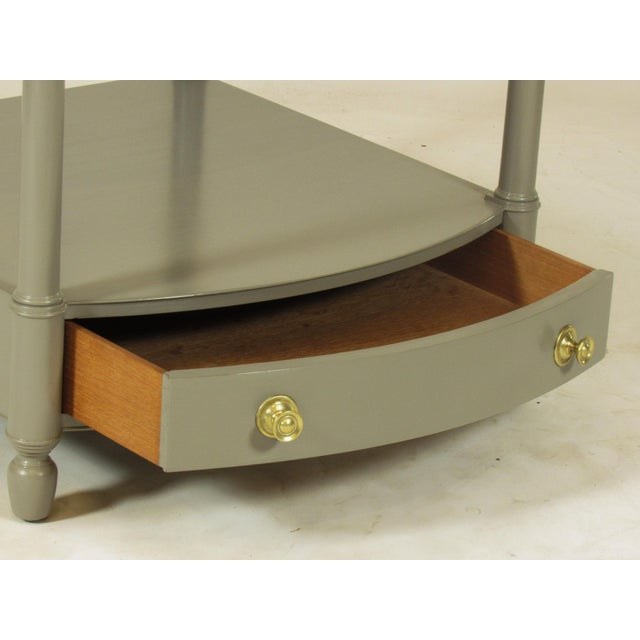 Brass 1950s Empire Baker FurnitureGray Lacquer End Tables - a Pair For Sale - Image 7 of 8