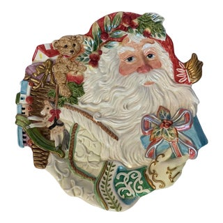 Vintage Fitz & Floyd 'Enchanted Holiday' Santa Cookie Plate For Sale