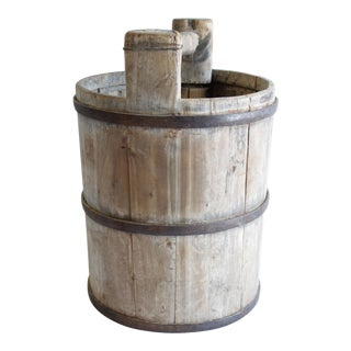 Vintage Weathered Cypress Wood Garden Buckets With Handle For Sale