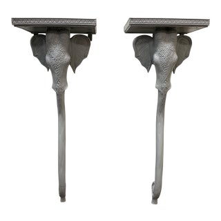 Vintage Gampel and Stoll Elephant Wall Brackets - a Pair For Sale