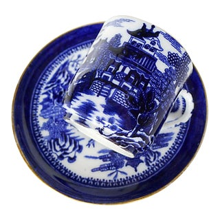 """Antique """"Copeland"""" Blue and White Demitasse Cup and Saucer With Asian Motif and Hand-Painted For Sale"""