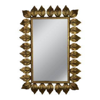 Rectangular Gilt Metal Sunburst Mirror For Sale