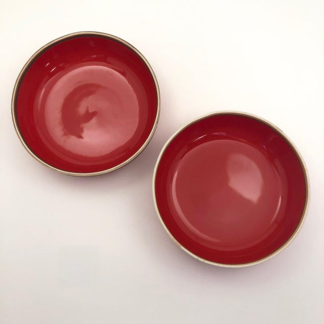 Bo Jia Red Terrain Bowls - a Pair For Sale - Image 4 of 11