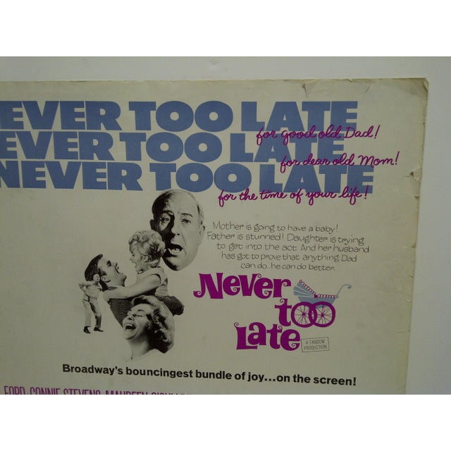 "Vintage Movie Poster ""Never Too Late"" by Paul Ford & Connie Stevens 1965 For Sale - Image 4 of 5"