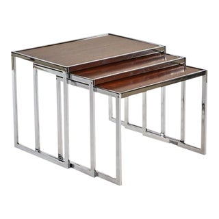 1940's Vintage English Wood and Chrome Nesting Tables - Set of 3 For Sale