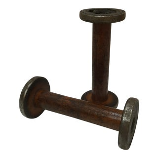 Antique Wooden Spools - a Pair For Sale