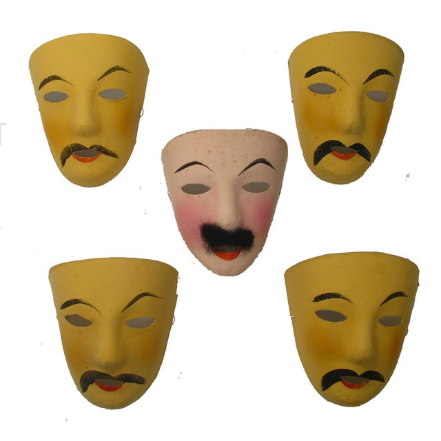 Vintage French Mardi Gras Masks - Set of 5 - Image 1 of 5