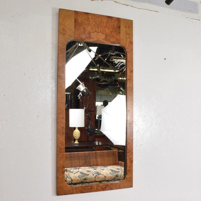 Mid-Century Modern Wall Mirror in Burl Wood For Sale In San Diego - Image 6 of 11