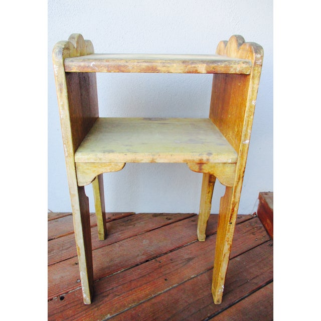 Farmhouse 1940s Antique Farmhouse Wood End Table Monterey Rustic Style For Sale - Image 3 of 10