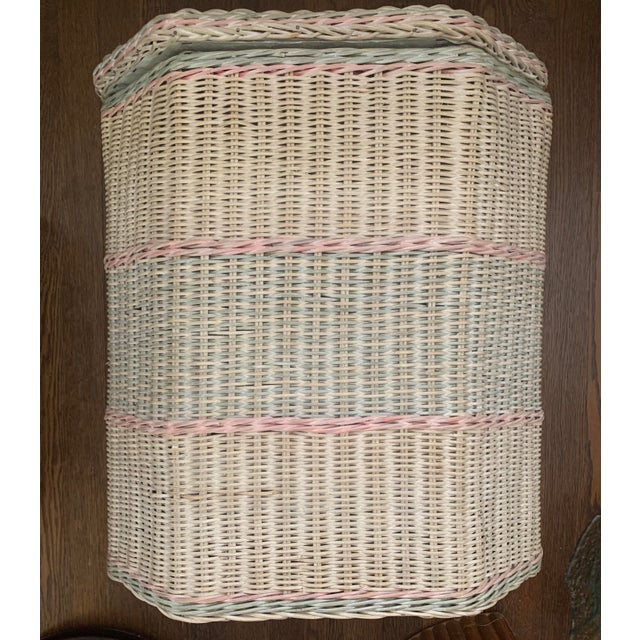 Boho Chic 1960s White-Washed Natural, Pink and Mint Striped Octagonal Wicker Clothes Hamper With Braided Trim For Sale - Image 3 of 13