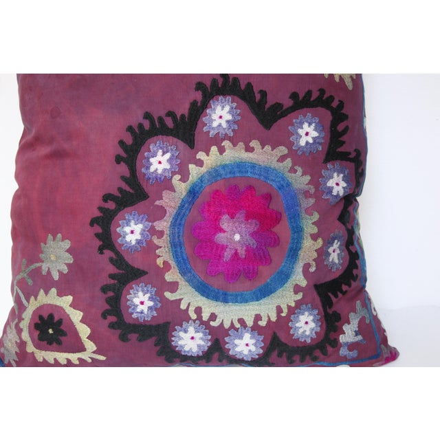 Textile Vintage Suzani Sofa Throw Pillow Cover For Sale - Image 7 of 11