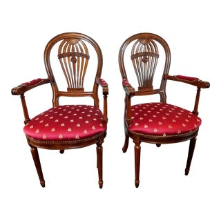 20th Century French Inspired Hot Air Balloon-Back Occasional Armchairs or Dining - a Pair For Sale