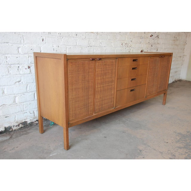 Founders Furniture Company Mid-Century Modern Woven Front Credenza by Founders For Sale - Image 4 of 11