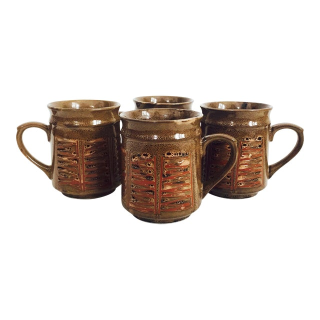 Mid Century Japanese Pottery Mugs - Set of 4 For Sale