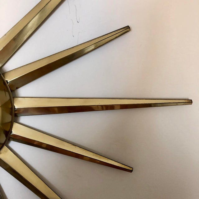 Mid Century United Brass Starburst Wall Clock For Sale - Image 4 of 9